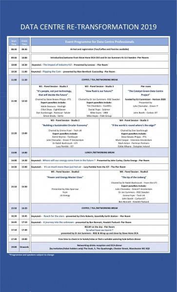 DATA CENTRE re-TRANSFORMATION CONFERENCE PROGRAMME